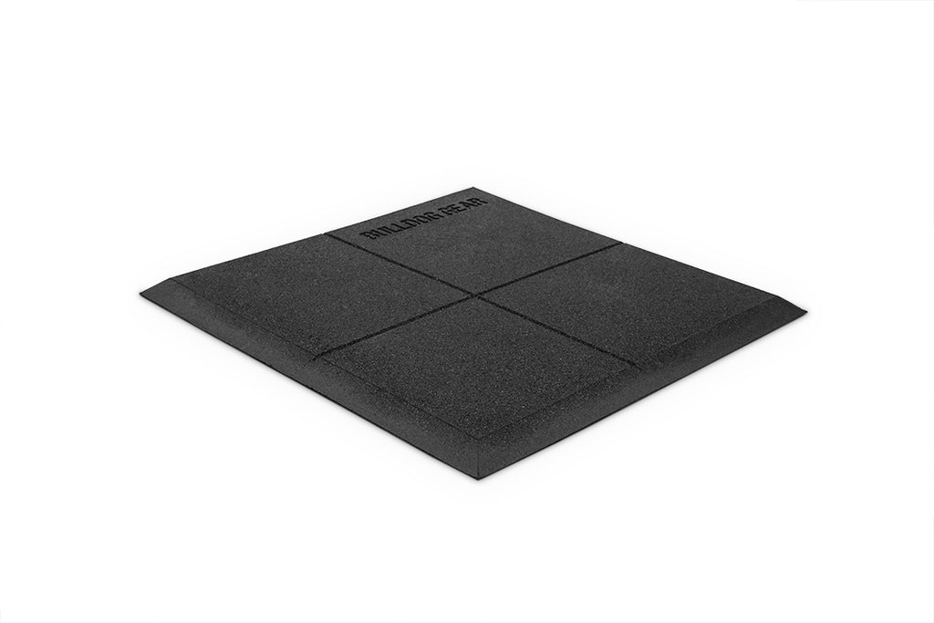 Bulldog Black 1m x 1m x 20mm Thick Rubber Gym Corner Tile with Ramp