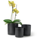 Modern Cylinder Plastic Pot With Saucer, Set of 3