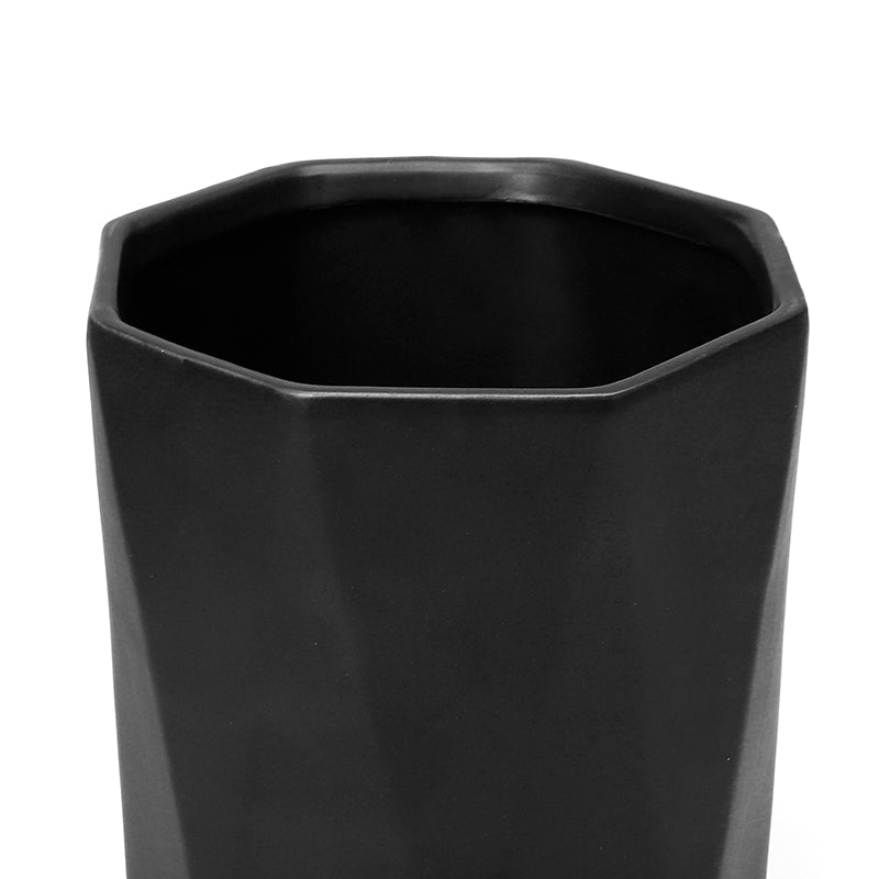 Geometric Black Ceramic Plant Pot