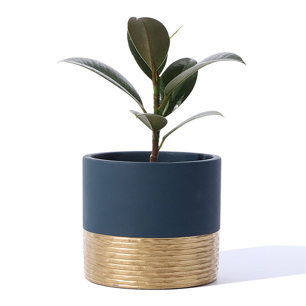 Hammered Style Navy Cement planter