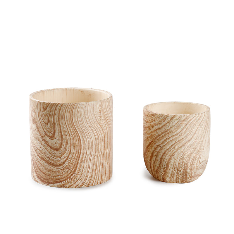 Wood Pattern Ceramic Planters