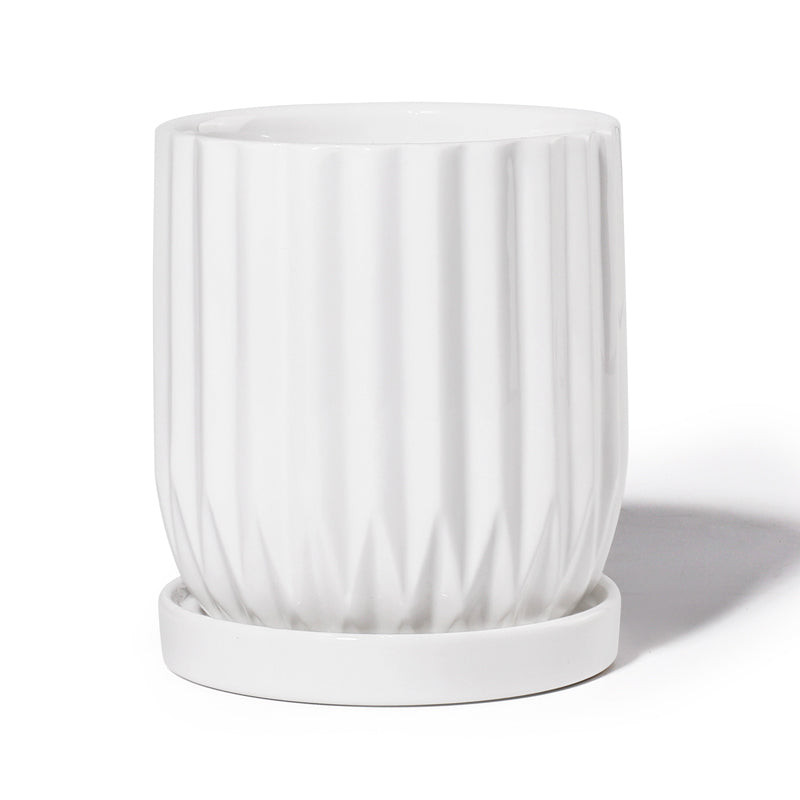 4.9 Inch Fluted White Ceramic Planter
