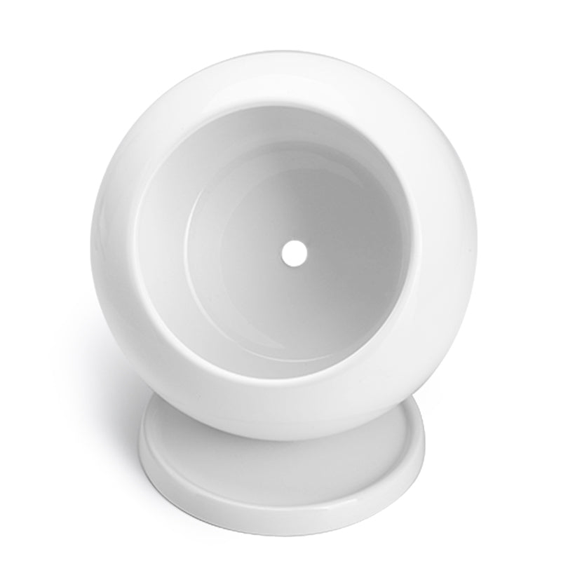 Round Planter with Saucer, White