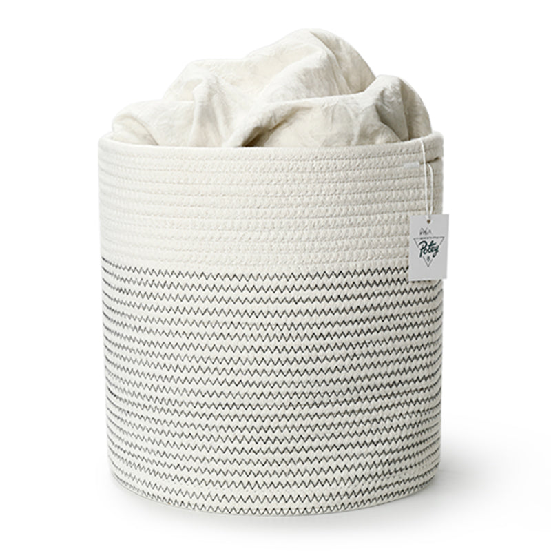 Cotton Rope Plant Basket, Black and White Mix