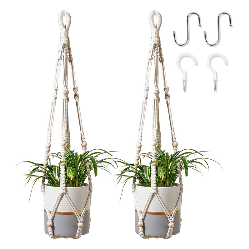 2 Packs Beaded Macrame Plant Hangers