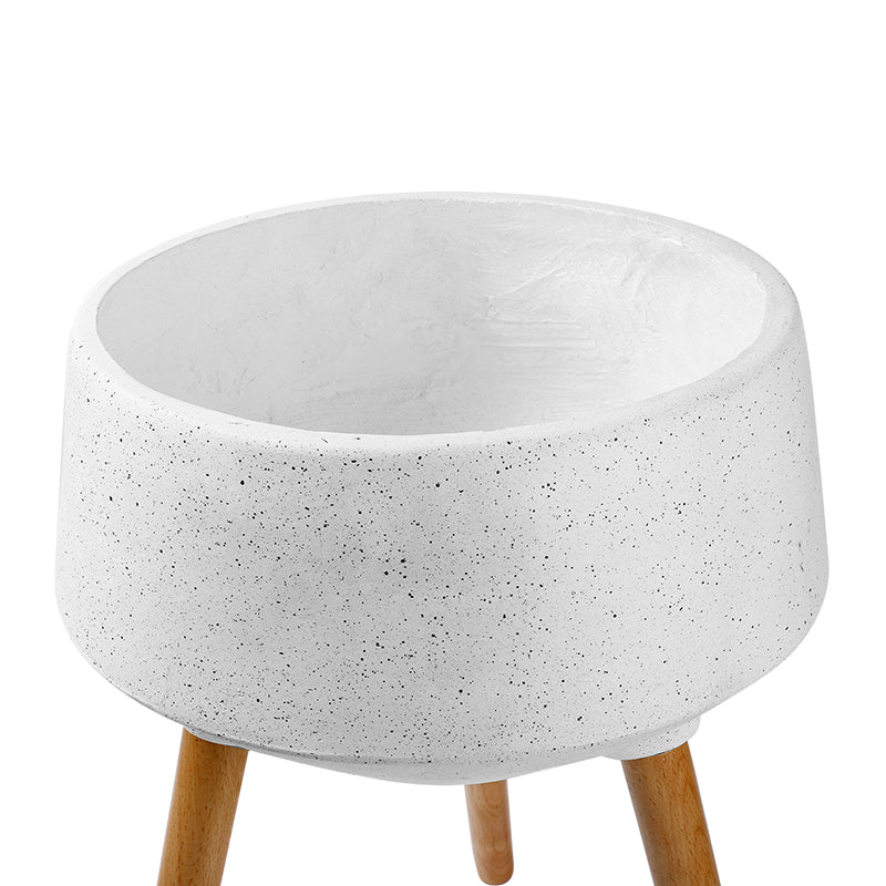 White Fiberglass Planter with Wood Stand