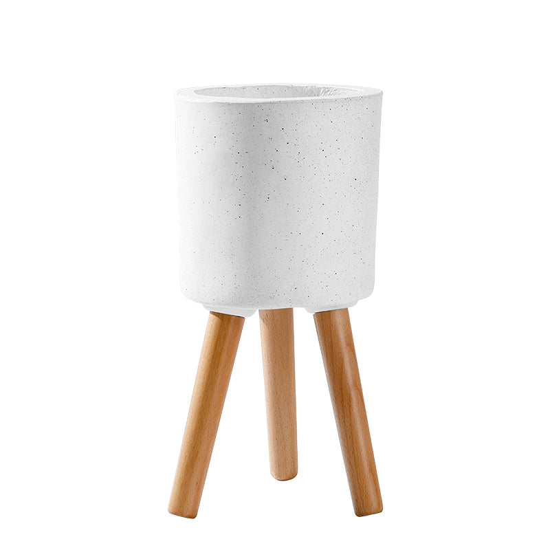 White Fiberglass Pot Planter with Wood Stand