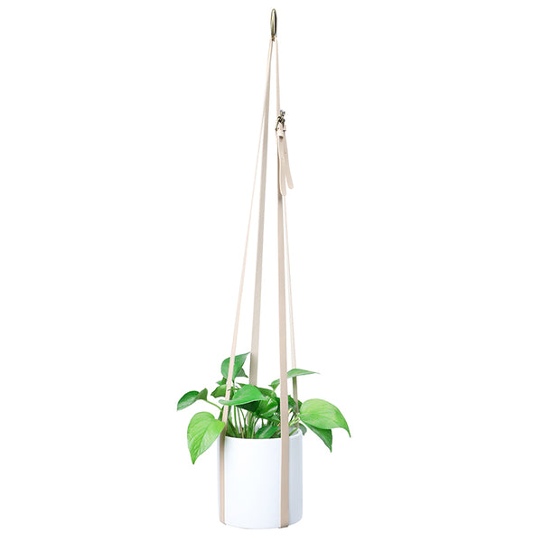 Adjustable Vegan Leather Plant Hanger, Beige