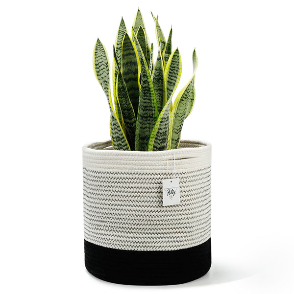 Cotton Rope Plant Basket Holder, Black and White Mix