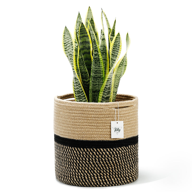 Cotton Rope Plant Basket Holder, Black and Brown