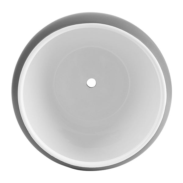 6.7 Inch Porcelain Planter with Saucer, Matte Grey