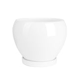 6.7 Inch Porcelain Planter with Saucer, White