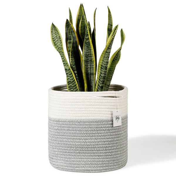 Medium Cotton Rope Plant Basket, White and Grey