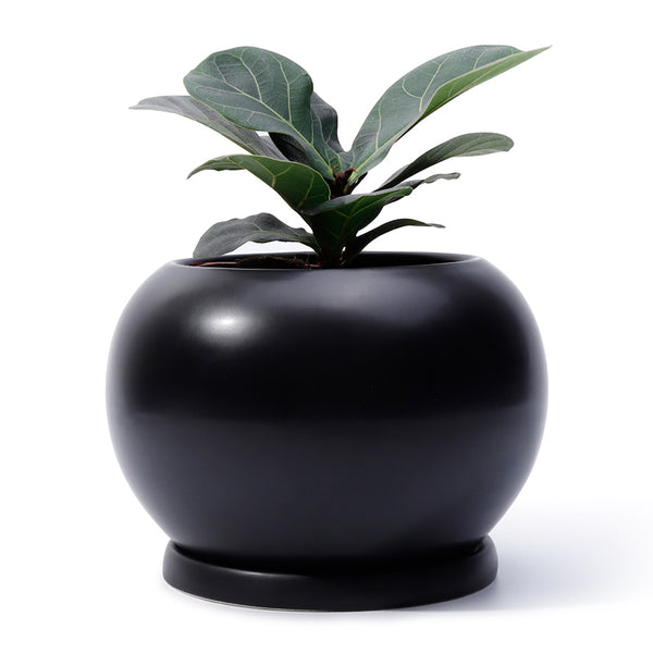 Round Planter with Saucer, Black