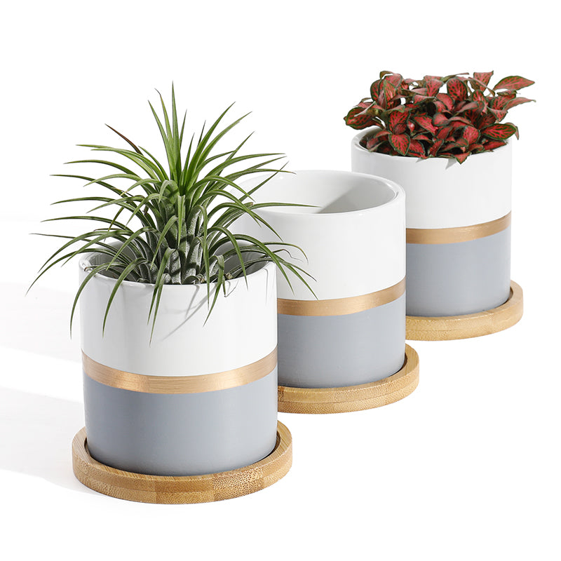 Ceramic Small Plant Pot wih Saucer, Grey and White