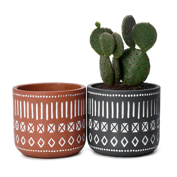 4.3 Inch Cement Plant Pot, Set of 2
