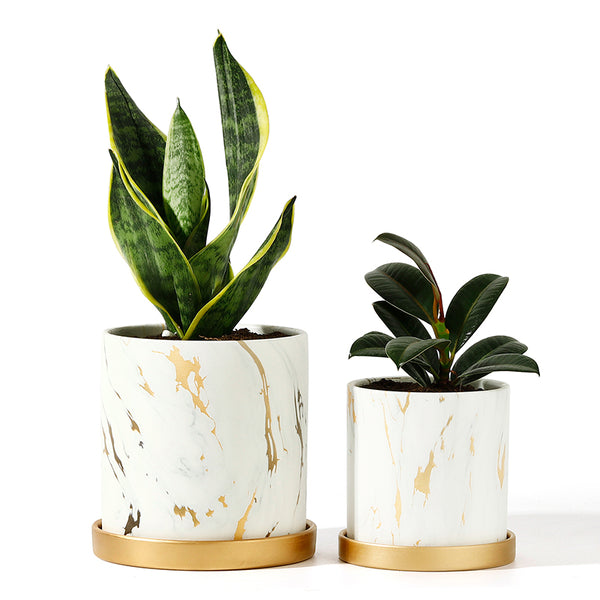 Marble Pattern Plant Pots with Saucer, White and Gold