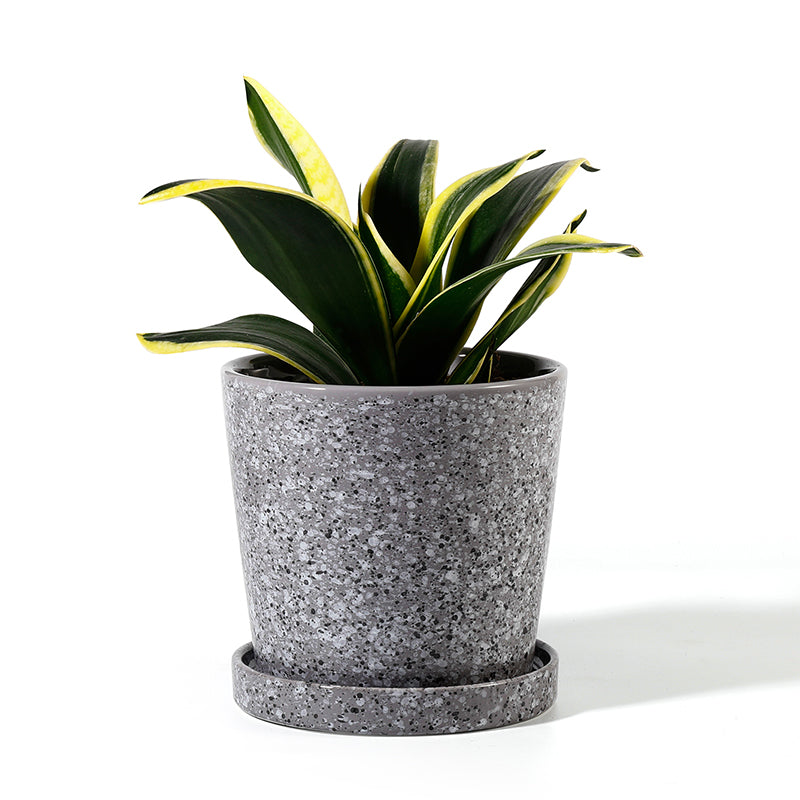 Glazed Grey Ceramic Planter with Attached Saucer