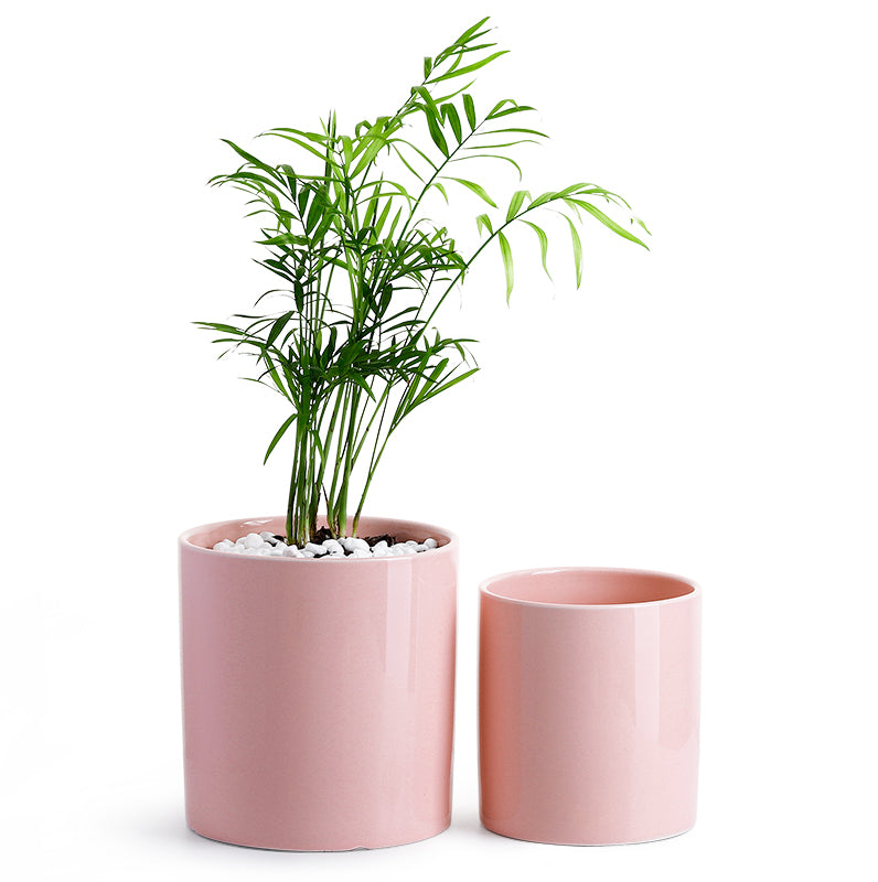 Flower Pink Ceramic Pots, Set of 2
