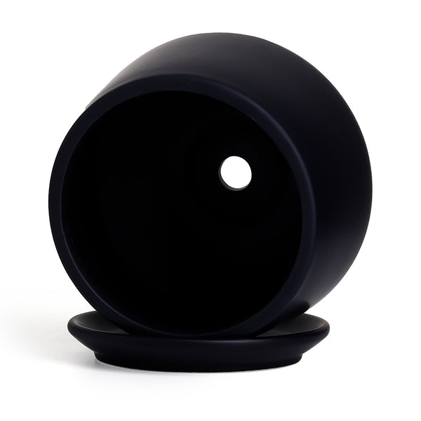 5.1 inch Porcelain Planter with Saucer, Matte Black