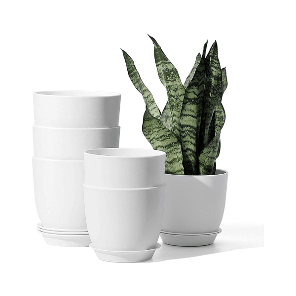 White Plastic Plant Pot, Set of 6