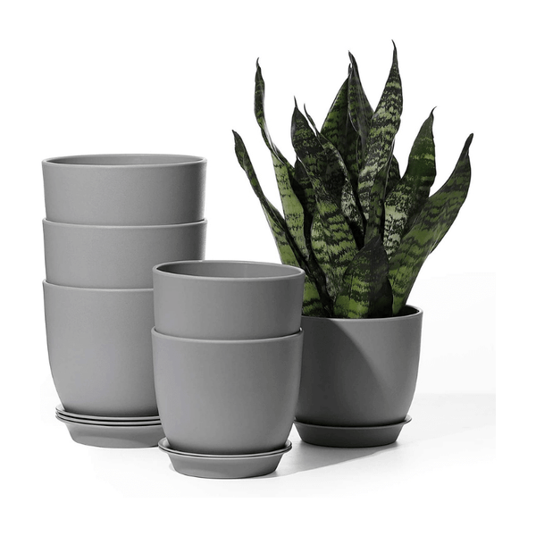 Grey Plastic Plant Pot, Set of 6