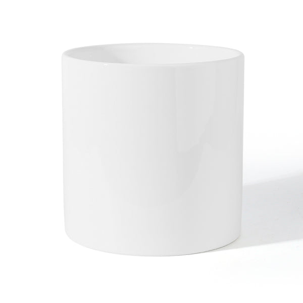 Cylinder Glazed White Ceramic Planter