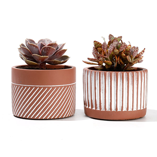 Cement Planter with Drainage Hole, Set of 2