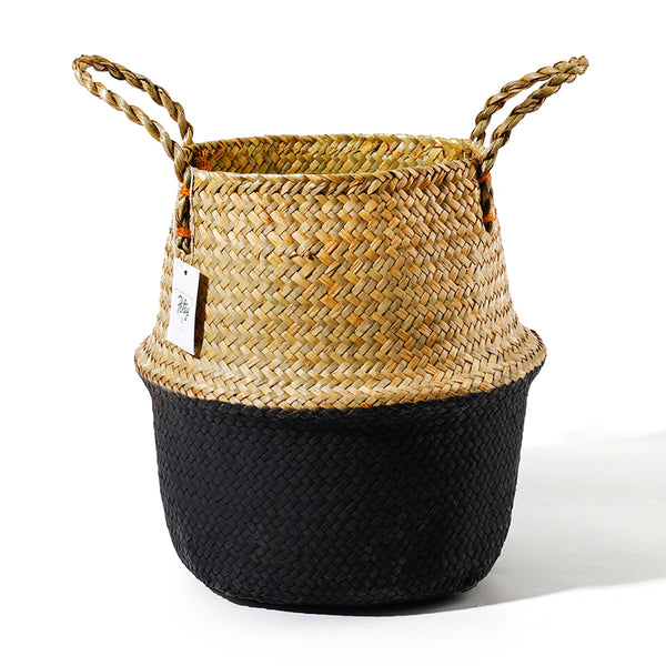 Brown Black Seagrass Plant Basket