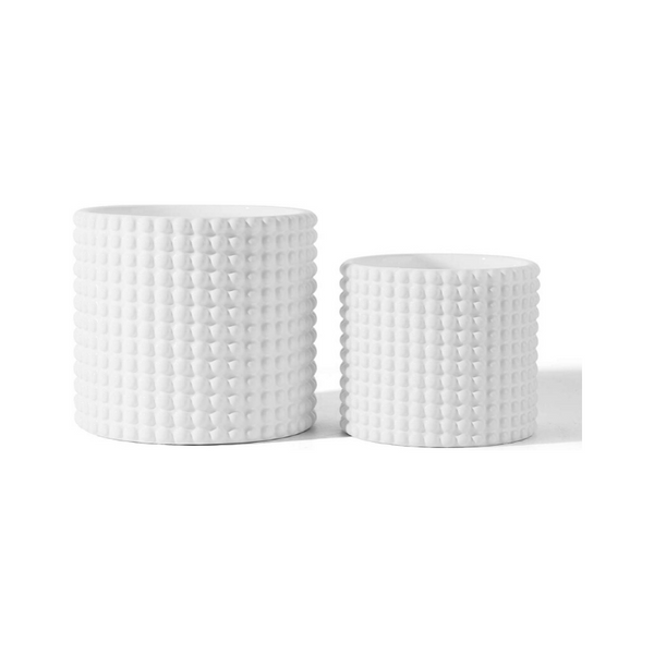 White Hobnail Ceramic Planter, Set of 2