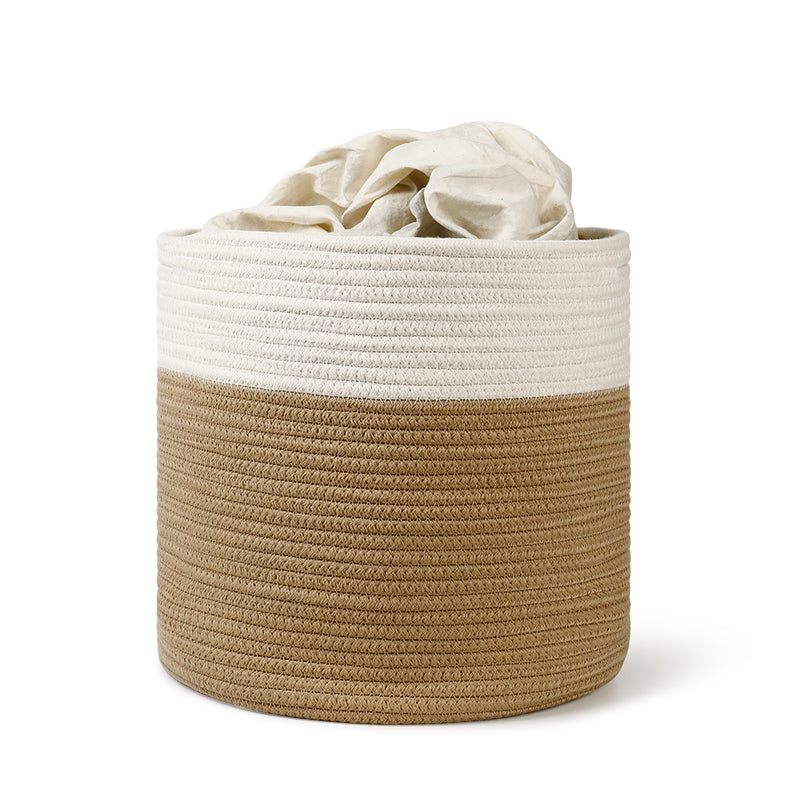 Medium Cotton Rope Plant Basket, Brown and White