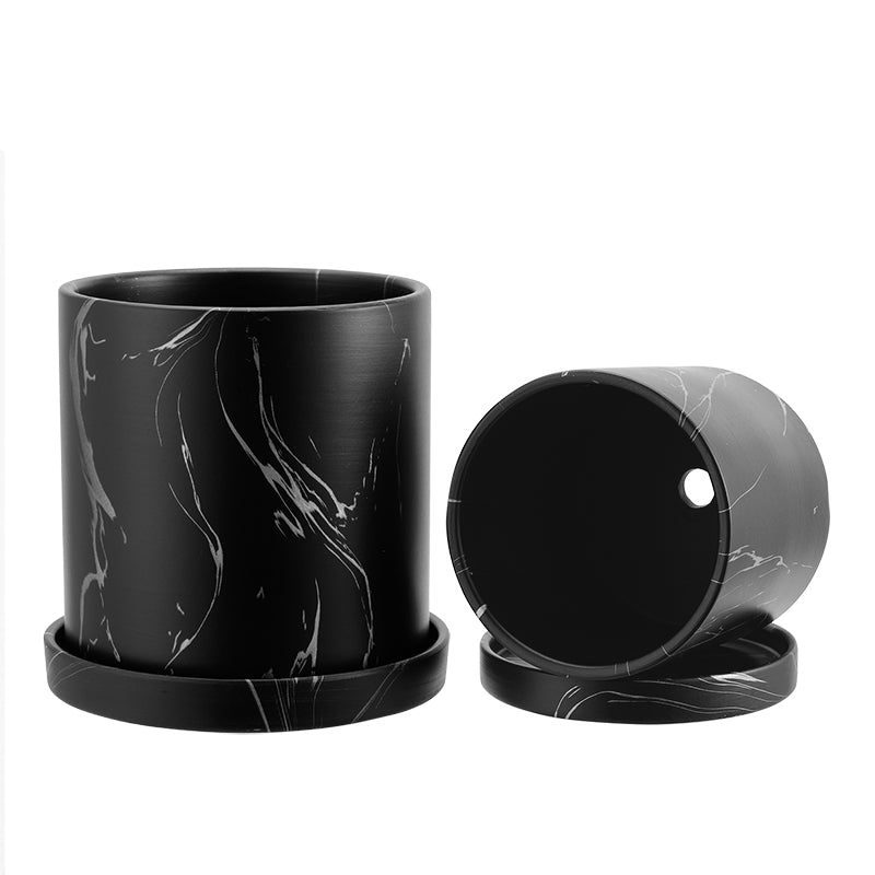 Marble Pattern Ceramic Plant Pots with Saucer, Black and Sliver
