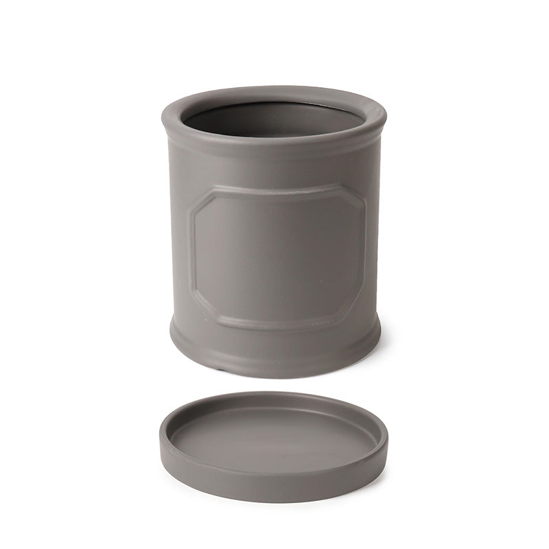 6 Inch Cylinder Porcelain Planter with Saucer, Matte Grey