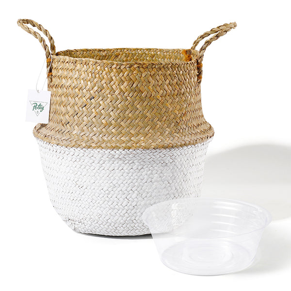 Brown White Seagrass Plant Basket