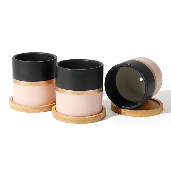 Ceramic Small Plant Pot wih Saucer, Black and Pink