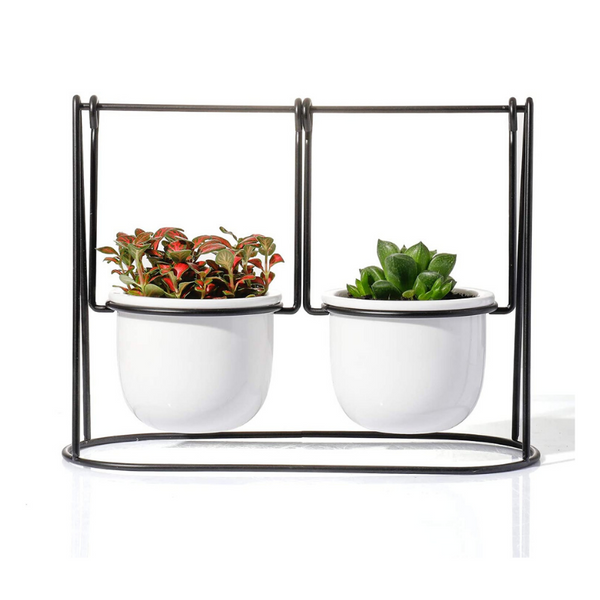 Swing Succulent Pots with Metal Stand Holder