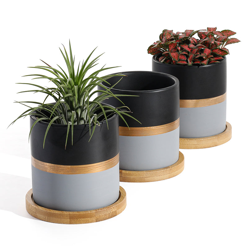 Ceramic Small Plant Pot wih Saucer, Black and Grey
