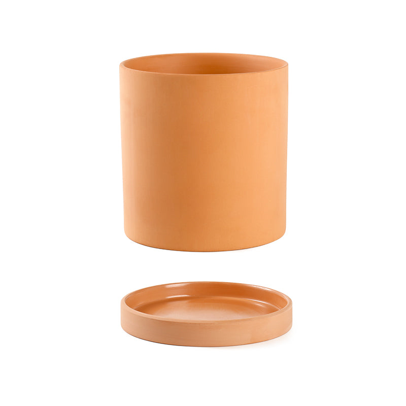 Terracotta Cylinder Plant Pot with Saucer