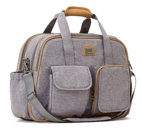 Windsor Grey POD ® Baby Travel Changing Bag, which opens into a comfortable cot or crib
