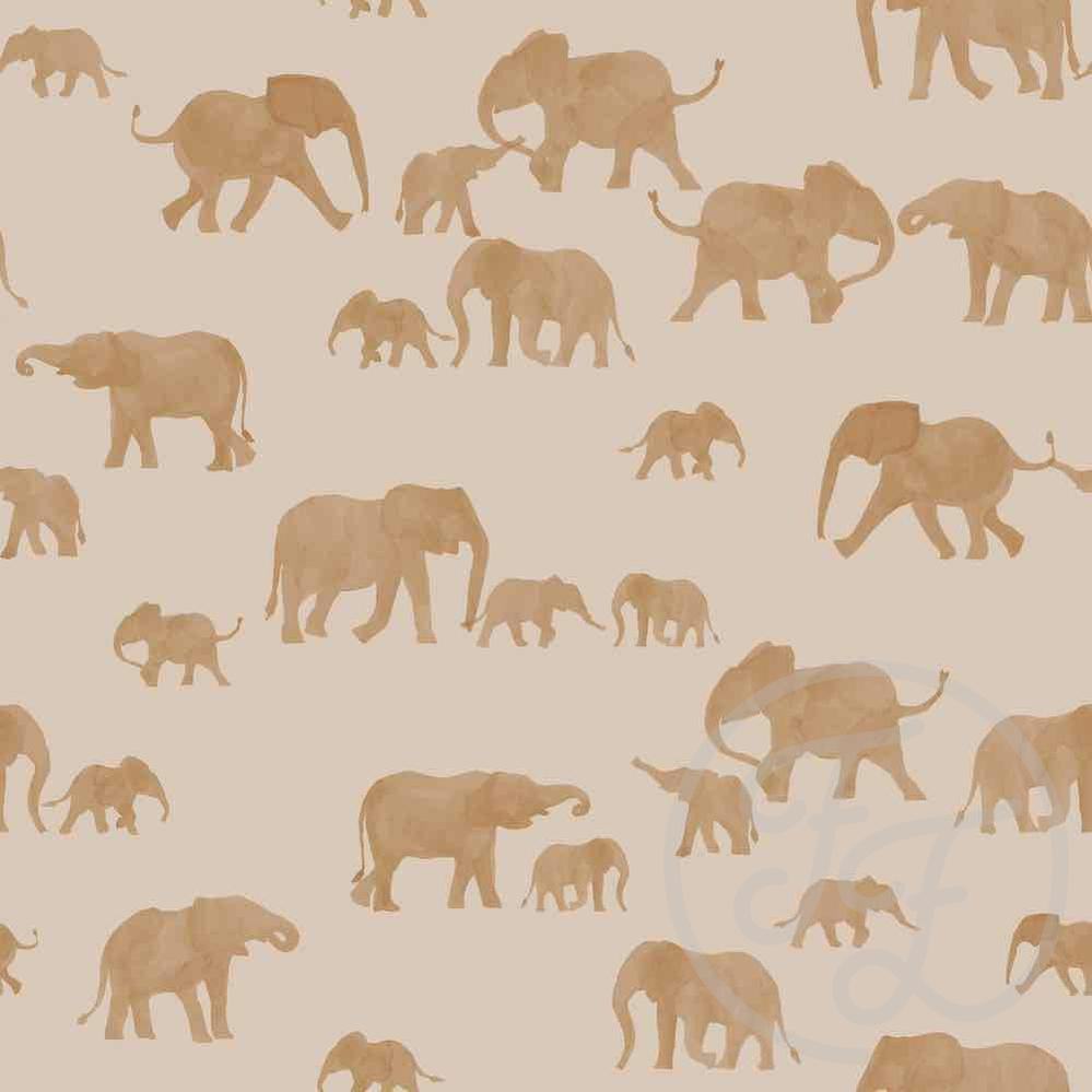 Elephants Brazilian Jersey-Family Fabrics