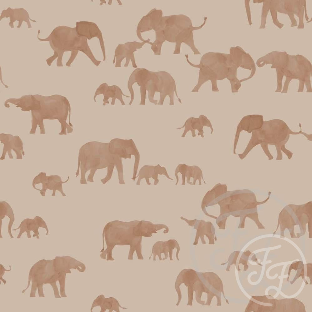Elephants Smokegrey Jersey-Family Fabrics