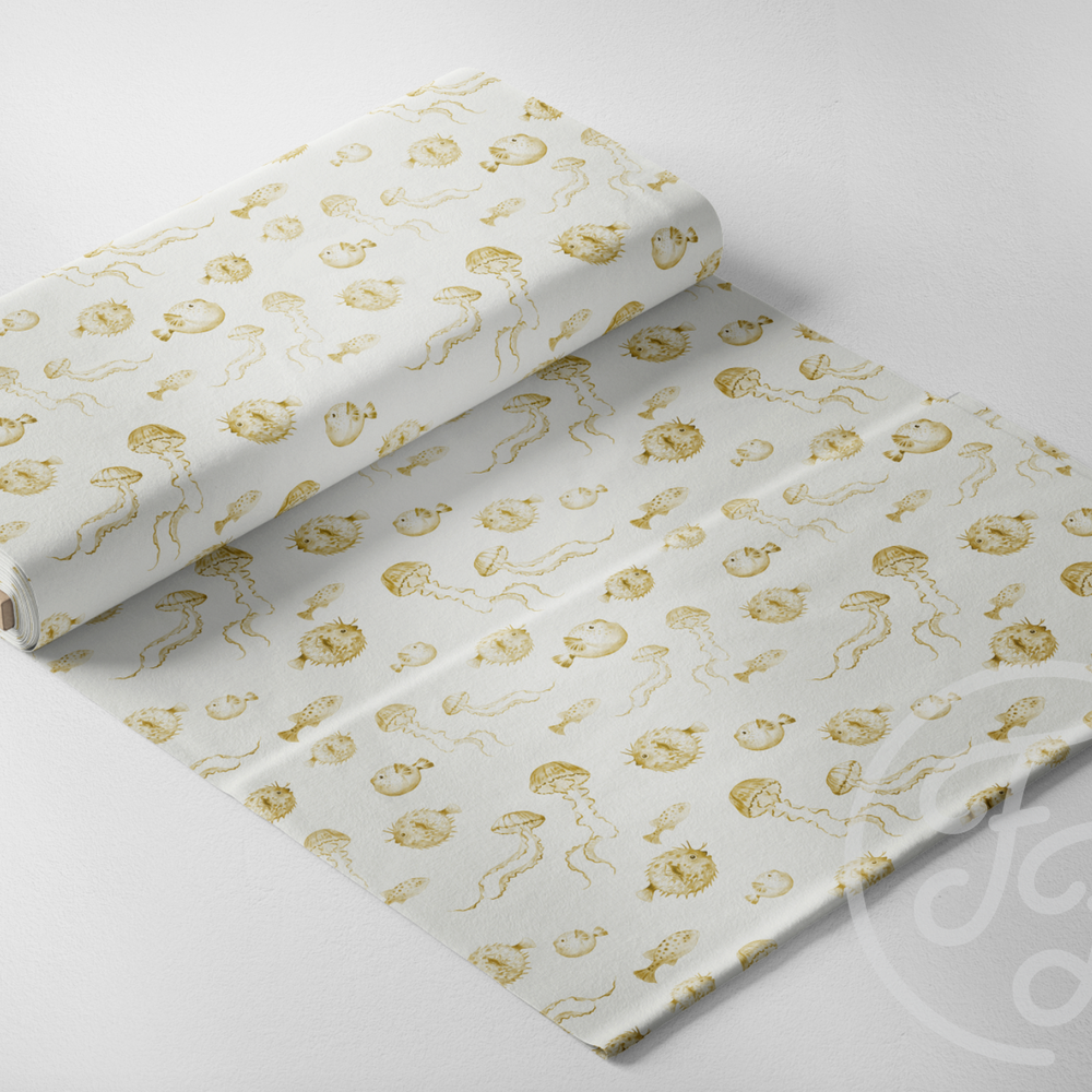 Pufferfish Mustard Yellow Jersey-Family Fabrics