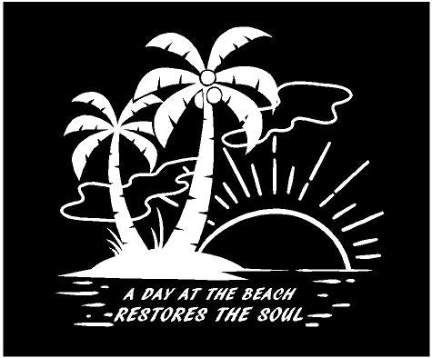 tropical day at the beach restores the soul decal car truck window sticker