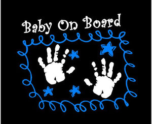 baby on board car decal blue