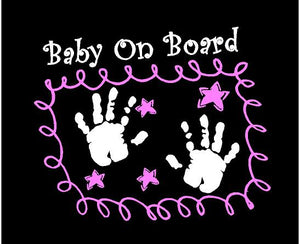 baby on board car decal pink