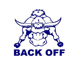 back off bull car decal