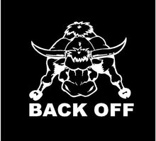 Load image into Gallery viewer, back off tailgating bull decal car truck window sticker