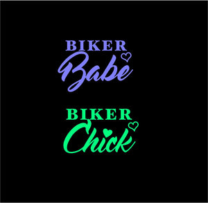 biker babe chick decal car truck window sticker