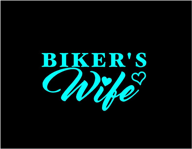 bikers wife decal car truck window sticker