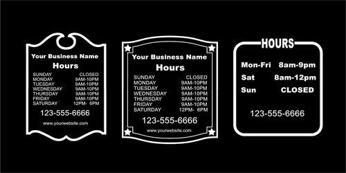 Business hours storefront window door decal sticker